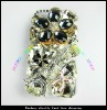 2012new fashion transparent clear with crab and crystal diamond case for iphone 4S