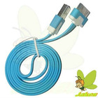 New Flat USB Blue 1M Noodle Data And Charger Cable for Iphone 4G/4GS/Ipad 2/New Ipad