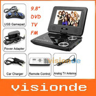 "Free Shipping 9.8"" Portable DVD DIVX Player with TV USB Card Reader Games FM Radio Swivel LCD Dropshipping +Wholesale"