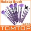 16 PCS Purple Cosmetic Makeup Make Up Make-up Brushes Brush Set with Leather Case Bag