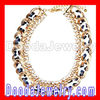 Gold Chain Ladies Rhinestone Leather Chunky Choker Bib Necklace Wholesale