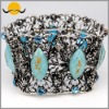 Fancy Vintage Acrylic Bead Stone & Alloy Flower Bracelet