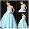 Ligh Blue Halter Satin Tulle Flower Girls Dresses 2012