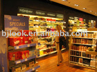 cosmetics display shelves