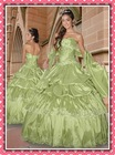Free Shipping Sexy Strapless ball-gown Applique Pleated Taffeta Chapel Train 2012 New Quinceanera Dresses