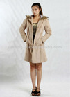 Rabbit Fur Coat for Fashion Girl/2012 Fashion Winter Fur Coat with Racoon Dog Collar