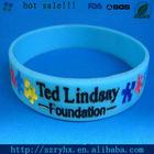debossed logo color filled silicone bracelet/hand bangle