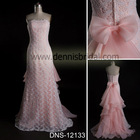 Lovely DNS-12133 Pink Strapless Sleeveless Lace Bow A-Line Court Train Evening Dress Prom Dresses