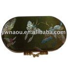 fancy brocade ladies double lipstick case with mirror