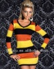 Yellow and Red Stripes Long Sleeve Dress