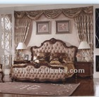American antique style brown color leather bed furniture GS-N-8813