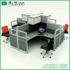 New wooden four people office workstation with overhead cabinet