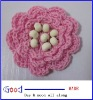 "Crochet 2"" Flower Pink color with wood beads handmade"
