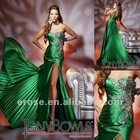 ET-141 Sweetheart Split Front Strapless Green Evening Dress With Beading