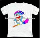 Cartoon Printing white100% cotton round collar doraemon anime t shirt