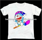 Cartoon Printing white100% cotton round collar doraemon anime t shirt