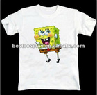 Cartoon Printing white100% cotton round collar cute anime t shirt