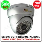 700TVL SONY EFFIO-E CCD CCTV Vandal-proof Metal IR Dome Camera Outdoor