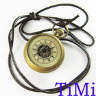 Good Brass Antique Small Pocket Watch+Leather Chain