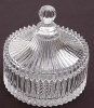 Round Embossment Transparent Glass Sugar Bowl With Glass Lid