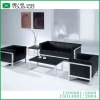 Strong simple steel frame black artificial leather office sofa