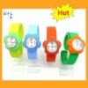 2012 hot flower style silicone snap wrist watches interchangeable slap bands watches