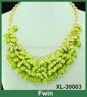 2013 new style fashion jewerly gold alloy bright acrylic chain link necklace with high quality