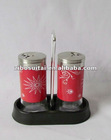 Set 3 Glass Red Stainless Steel Coated Salt Pepper Shaker/Jar For Christmas