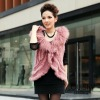 Popular Lady's Mongolian Fur vest with lambs wool collar Pink