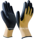 Kevlar cut resistant gloves with black nitrile palm coated