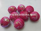 2012 Charm 25mm sequin ball beads for jewelry making, chunky high quality christmas beads, factory price