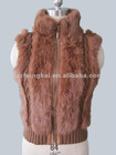 Women simple knitwear vest with rabbit fur