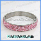 Micro Pave 5Rows Pink CZ Crystal Rhinestone Stainless Steel Bangle Women Shamballa Hot Fashion Jewelry 11Colors RCB-010