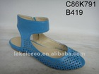flat sandal boots blue(flat heel;meshed upper;laser cut;PU upper)
