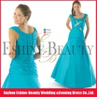 High-fashion blue satin diamond beaded cap sleeve prom dress for muslim