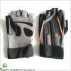 synthetic leather fingerless safety gloves with long velcro belt