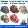 Mens Tweed Flat Cap Herringbone Wool Peak Hat Country 5 Colours Quilt Lined
