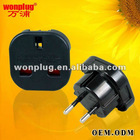 Uk to Europe plug adapter with CE and ROHS certification.