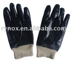Black PVC gloves/cotton jersey liner/knitted cuff