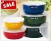 5 pcs Ellipse enamel food storage bowl with PP lids