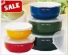 5 pcs Ellipse enamel food storage bowl with PP lids