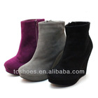 Fashion suede material wedge platform boots bare side zip boots