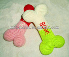 OEM Organic Cotton Hand Knit Crocheted Dog Bone with a Squeaker Toy, Crochet Dog Toy, Crochet Pet Toy (KCC-CPT0011)