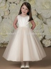 Center Sunburst Pleated Satin Bodice Thin Waistband with Center Front Bow Double Layered Tulle Overlay Skirt Flower Girl Dress