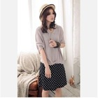 Fashion Rock Talasite dot fonts workers dug back vest dress chiffon shirt dress sling group