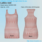 2013 spring fashion 60/40 CVC burn-out effect women vest
