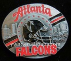 antique silver fashion red and black enamel Falcons logo Belt Buckle