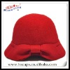2012 fashion 100% wool lady's red felt hat with beautiful knot