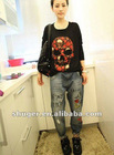 Fashion Skull Embellished Long Sleeve T-shirt Black NX12092614