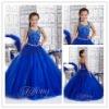 Blue Organza Sweetheart Halter Ball Gown Beaded Flower Girls' Dresses